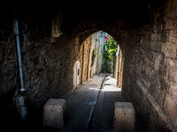 Old alley in the historic center of Hyères