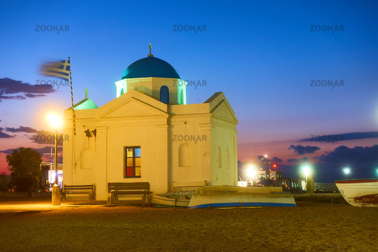 Church by the sea in the Old port of Mykonos at night