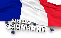 France flag and text stop covid-19.