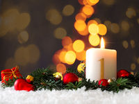 Candle of the first Advent burns
