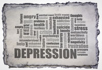 depression word cloud on a handmade paper