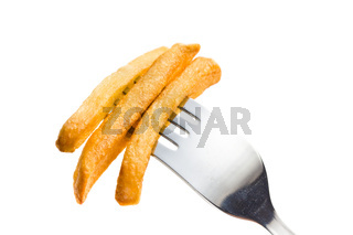 french fries on fork