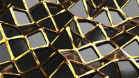 The golden and polygonal lowpoly grille has a black reflective surface in a minimalist design. Abstract 3d illustration background