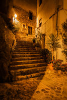 Stairs in Old Town of Tossa de Mar at Night