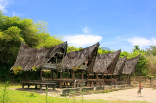 Traditional Batak houses on Samosir island, Sumatra, Indonesia