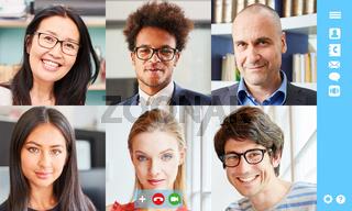 Team trifft sich online zu einer Business Videokonferenz
