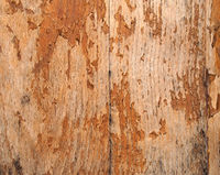 old wooden faded timber surface with peeling brown varnish