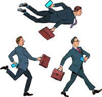 Set of successful businessmen