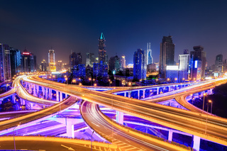 shanghai  interchange overpass at night