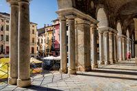 Vicenza, Italy - March 19th, 2019 - Arcades at the Basilica Palladiana