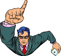 A businessman with a smartphone index finger up. Flying like a superhero