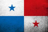 The Republic of Panama National flag. Grunge background
