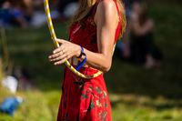 Woman uses hula hoop at earth festival