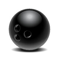 Black glossy bowling ball isolated on white background.