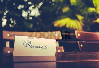 Vintage Reserved Restaurant Table