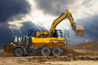 Baustelle mit Baumaschine bzw. Bagger