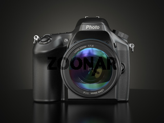 Digital photo camera on black background.