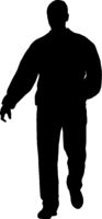 Silhouette of a walking man on a white background