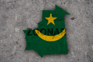 Karte und Fahne von Mauretanien auf verwittertem Beton - Map and flag of Mauritania on weathered concrete