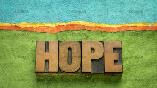 hope word in vintage wood type - optimism concept