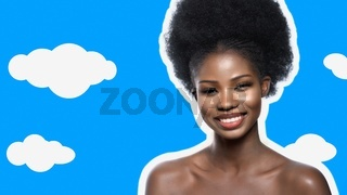 Beautiful Afro American Woman Happily Smiles