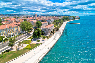 City of Zadar waterfront aerial panoramic view