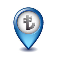 Turkish Lira symbol on Mapping Marker vector icon.
