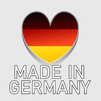 german national colored heart with text made in germany