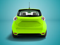 Modern light green electric car hatchback for carrying passengers at the rear 3d render on blue background with shadow