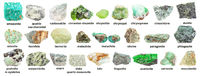 set of various green unpolished minerals with name