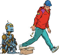 Beggar homeless robot asks for alms