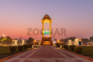 The Canopy and the India Gate in twilight, view from the National War Memorial, New Delhi, India