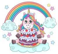 Unicorn with cake theme image 2