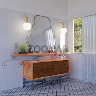 Badezimmer mit Kommode, Spiegel, Ablage und Deko