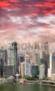 Aerial skyline of downtown skyscrapers in Singapore at sunset