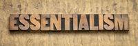 essentialism word in wood type