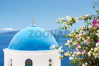 Church With Blue Cupola in Santorini, Greece