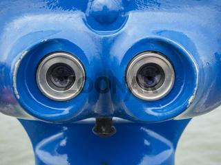 Eyepieces of a blue telescope