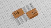 Electronic transistors of orange color 3d illustration