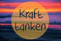 Sunset Or Sunrise At Sweden Ocean, Kraft Tanke Means Relax