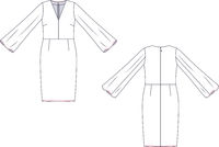 Vector fashion technical sketch of women middle dress.