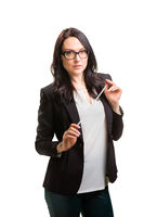 Portrait of wonderful business woman on white background