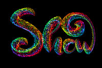 Show word text logo made by colorful confetti parcles, beautiful typography suitable for brochure banner design isolated on black background