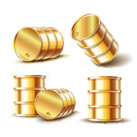 Set of Golden metal oil barrel in different position isolated on white