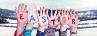 Children Hands Building Word Easter, Winter Scenery