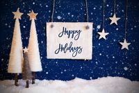 Christmas Tree, Blue Background, Snow, Text Happy Holidays, Snowflakes
