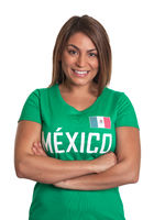 Laughing mexican girl with crossed arms