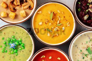 Vegan soups variety. Various vegetable soups