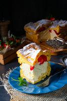 Karpatka with strawberry ,traditional Polish cream pie