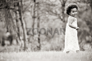 African girl in black and white